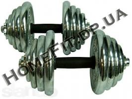 Гантели наборные хром+резина 2 шт по 10 кг
