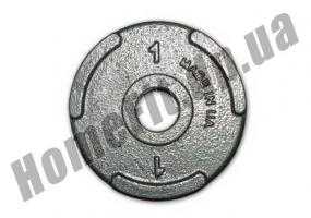 Блин литой PT-S для штанги 1 кг (26/31/52 мм: фото 1