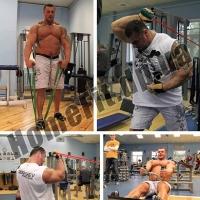 Расширитель грифа Fat Gripz: упражнения на блочном тренажере и с резиновыми петлями