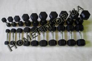 Ряд гантелей (горка) неразборных 1-10 кг обрезиненных