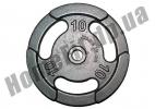 Блин литой PT-S для штанги 10 кг (26/31/52 мм)
