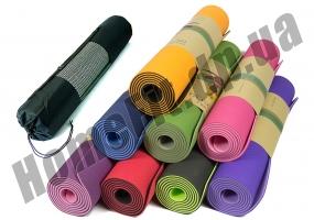 Коврик для йоги TPE, фитнеса, пилатеса, йогамат, фото 1