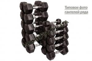 Гантельный ряд 5-25 кг обрезиненный шестигранный
